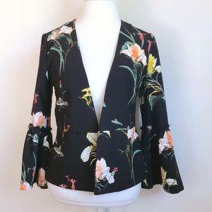 floral bell sleeve blazer
